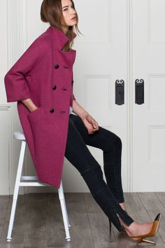 Fall/ winter outfit ideas. Purple coat, black pants and camel pumps with black tip- love this combo. emersonfry.com