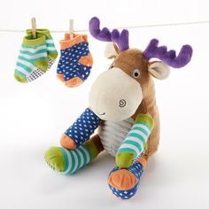 Adorable Plush Moose with Socks for Baby by Baby Aspen
