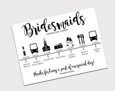 Bridesmaid Wedding Itinerary, Bridesmaid Wedding Day Schedule, Wedding Day Timeline, Printable Wedding Itinerary