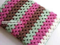 Large Crochet Baby Blanket  Handmade Striped Granny