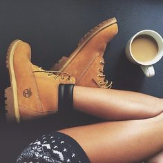 Cozy up with some coffee #timberland #yellowboot #coffeenclothes