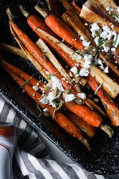 The simple combination of sweet and savory combine to make these spiced roasted parsnips and carrots your new favorite side dish! Healthy Side Dishes, Vegetable Side Dishes, Side Dish Recipes, Healthy Vegetable Recipes, Vegetarian Recipes Easy, Healthy Food, Appetizer Recipes, Dinner Recipes, Fall Recipes