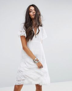 Buy it now. Denim & Supply by Ralph Lauren Babydoll Dress with Lace Frill Hem - White. Dress by Denim Supply by Ralph Lauren, Woven cotton, V-neck, Empire waist, Sheer lace inserts, Tiered design, Loose fit - falls loosely over the body, Hand wash, 100% Cotton, Our model wears a UK S/EU S/US S and is 178cm/5'10 tall. ABOUT DENIM & SUPPLY BY RALPH LAUREN Working a laidback chic aesthetic, Denim & Supply by Ralph Lauren is the latest denim line from the Ralph Lauren family. Taking inspiration…
