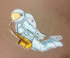 These saxy astronaut stickers are hand drawn. Each drawing is transferred to the computer, printed on water resistant vinyl and laminated to Brandy Melville Stickers, Pin And Patches, Street Signs, Cute Stickers, Kids Playing, How To Draw Hands, Etsy Shop, Disney Characters, Drawings