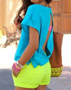 neon fashion, love the colors Also cute for Mexico trip! Neon Outfits, Summer Outfits, Cute Outfits, Fashion Outfits, Womens Fashion, Looks Style, Style Me, Neon Colors, Bright Colors