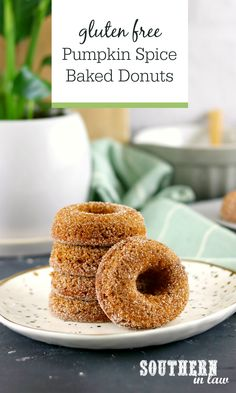 Gluten Free Pumpkin Spice Baked Donuts Recipe - Easy to make and delicious to eat, these pumpkin spice baked donuts are perfect for fall or anytime eating. Coated in cinnamon sugar, these homemade gluten free donuts are quick and easy to make and a healthy alternative to fried donuts.