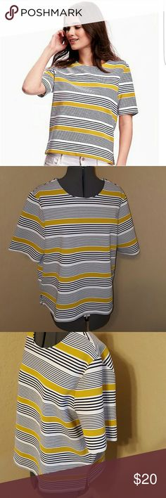 bold yellow navy striped top thick stretchy material perfect for fall Old Navy Tops Blouses