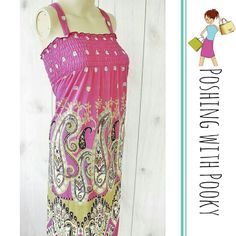 """NWT Fashion Summer Dress Paisley Pink Brand new. Super adorable and perfect for summer. Light and breathable, with elastic Chest and flat straps.   Size L 65% spandex  35% polyester   Chest easily expands from 10 to 16"""" across  Waist about 24"""" across Length 36"""" Strap length flat from Chest to top - 7"""" Unbranded Dresses Maxi"""