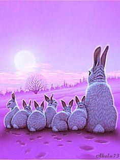 Rabbit mother and her children