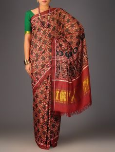 Buy Red Green Double Ikat Patan Patola Silk Saree Accessories Scarves & Stoles Resplendent Legacy Sarees Dupattas in Single Online at Jaypore.com