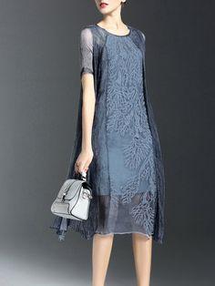Blue Crew Neck Short Sleeve Silk Vintage Midi Dress