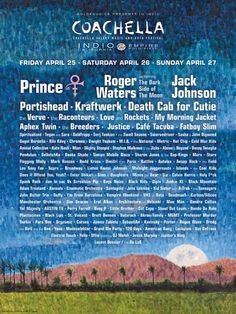 Coachella 2008 ☮ Prince, Roger Waters, Jack Johnson ☮ List of Acts ♠ re-pinned by http://www.wfpblogs.com/category/toms-blog/