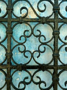 """MOROCCAN wrought  - iron gate - blue faded wall - moroccan art - photo print - 5 x 7 """". €4.00, via Etsy."""