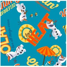 Disney Frozen Olaf Chillin cotton print Panel 35 by 43 inches