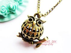 Necklace---antique DIY bronze 3D super cute hollow-out owl necklace #owl #necklace www.loveitsomuch.com