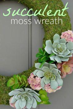 Beautiful! I love this DIY Succulent Moss Spring Wreath. Perfect front door decor!