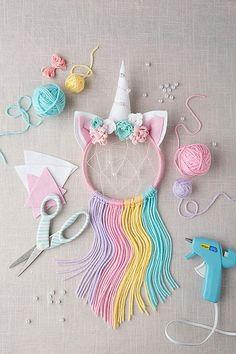 Dream Catcher Kit, Dream Catcher Craft, Diy Dream Catcher For Kids, Craft Kits For Kids, Diy Crafts For Kids, Diy Niños Manualidades, Diy Dream Catcher Tutorial, Unicorn Crafts, Diy Unicorn Horns