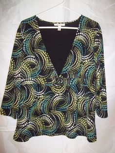 JM Collection 3/4 Sleeve Lined Shirt Top Blouse Multi Color Geometric Size XL   #JMCollection #Blouse #shirt #top #womens #geometric #fashion #clothes #apparel #clothing #womensfashion #onlinestore #onlineshopping #ebay #ebaystore