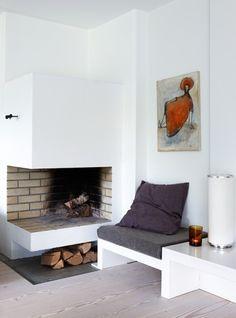 love the simplicity of this corner. plum and burnt orange splashes of colour