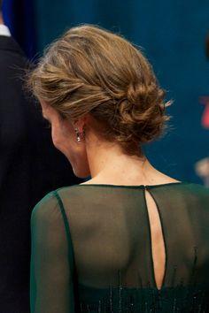 Spanish Princess Letizia's hair details during the 'Prince of Asturias Awards 2013' ceremony in Oviedo, Spain