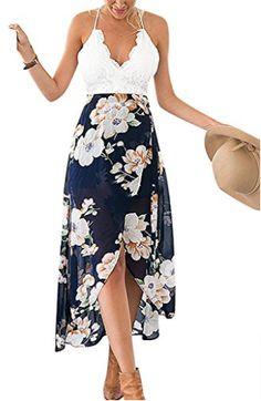 Famulily Women's V-neck Lace Patchwork Irregular Hem Floral Halter Maxi Dress Small $19.99  http://amzn.to/2vjxzVt