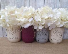 Pint Mason Jars,Plum Grey Cream,Painted Mason Jars,Rustic Wedding Centerpieces,Baby Shower Decoration,Flower Vases,Rustic Home Decor