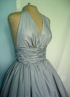 50s style striped cocktail dress