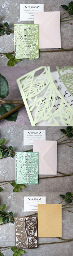 leaf inspired dragonfly laser cut invitations