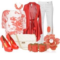 Coral Floral, created by christina-young on Polyvore