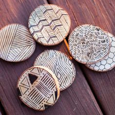 Custom wood burned coasters. Handmade from a birch tree   thebhivecreations.com