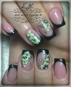 (52) Одноклассники Flower Nail Designs, Diy Nail Designs, Flower Nail Art, Nail Polish Designs, Green Nail Art, Green Nails, Cute Nail Art, Beautiful Nail Art, Nail Ink