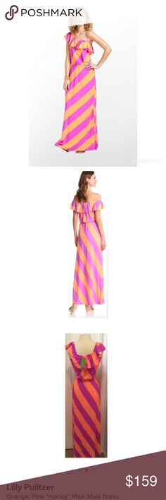"Lilly Pulitzer Sunrize Marley Maxi Dress NWT Lilly Pulitzer ""Marley"" Maxi Dress NWT The dress can be worn on and off the shoulder.  The dress measures 55"" long. 96% Rayon, 4% Spandex. The waistband is elastic and has lots of stretch to it. Lilly Pulitzer Dresses Maxi"
