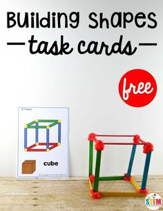 Kids will have an awesome time building 2D and 3D shapes with these free STEM task cards! A great hands on way to practice engineering and creating shapes!