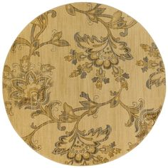 Oriental Weavers Transitional Gold Gray Polypropylene Floral Machine-Woven Area Rug
