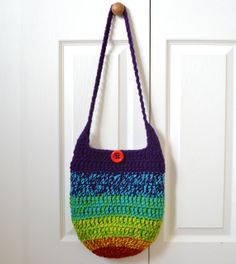 Crochet Hobo Bag Sling Bag Rainbow Colorful Hippie by 2LeftHandz, $30.00