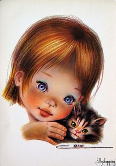 〆(⸅᷇˾ͨ⸅᷆ ˡ᷅ͮ˒).                                                              Big-Eyed Girl with Kitty postcard