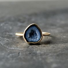 Geode Druzy Ring in Solid 14K Yellow Gold CUSTOM MADE by anatomi