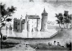 Kasteel Cranendonk afbeelding (fictief ?) voor de verwoesting in 1673, 'naar het originele schilderij'
