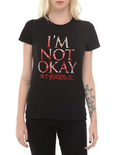 "My Chemical Romance T-shirt with a red splattered ""I'm Not Okay"" text design."