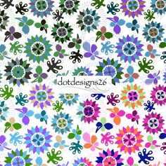 Floral Flowers Pattern(Forest, Plum, Lilac, Pink) Dotdesigns26@gmail.com