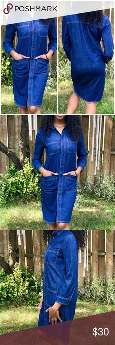 J. CREW Button Front Denim Shirtdress Denim - 4 front pockets - 3/4 Sleeves (sleeves are a weird length see measurements) - Button Front a collared rounded bottom hem - Bust: 19 inches - Length (shoulder - bottom): 35 3/4 inches - Sleeve length: 20 3/4 inches J. Crew Dresses