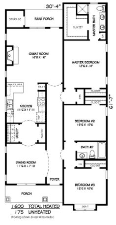 Craftsman Style House Plan – 3 Beds 2 Baths 1600 S… Bedroom House Plans, Dream House Plans, Small House Plans, House Floor Plans, Bungalow Floor Plans, Building Plans, Building A House, The Plan, How To Plan