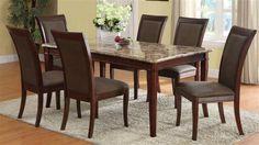 Granada Brown Wood Marble Top Dining Table ACM-70070
