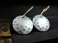 petite dahlia  mixed metal earring by sirenjewels on Etsy