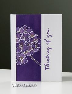 handmade greeting card from I Card Everyone ... purple and white ... luv how she colored the Mondo Hydrangea and used it off-the-edge on the colum of puirple ... great card!