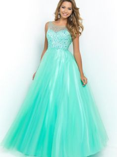 A-line Turquoise Organza Long Formal Dress/Prom Dress 2015 5410