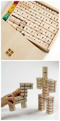 Wanimokko :: Wood Block & Rubber Band Building Toy