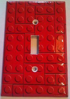 Red Lego Blocks Single Light Switch Plate Cover Bathroom Room Decor