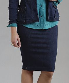 Another great find on #zulily! Dark Blue Side-Slit Denim Skirt - Women #zulilyfinds