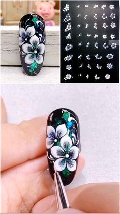 Nagellack Design, Nagellack Trends, Nail Art Designs Videos, Nail Art Videos, Gel Nails, Acrylic Nails, Nail Drawing, Floral Nail Art, Pretty Nail Art
